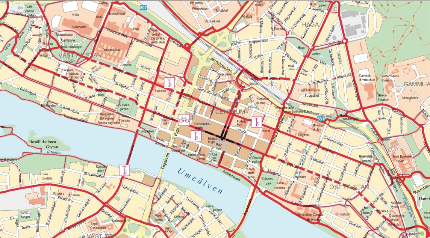 Del av kommunens cykelkarta som visar centrum