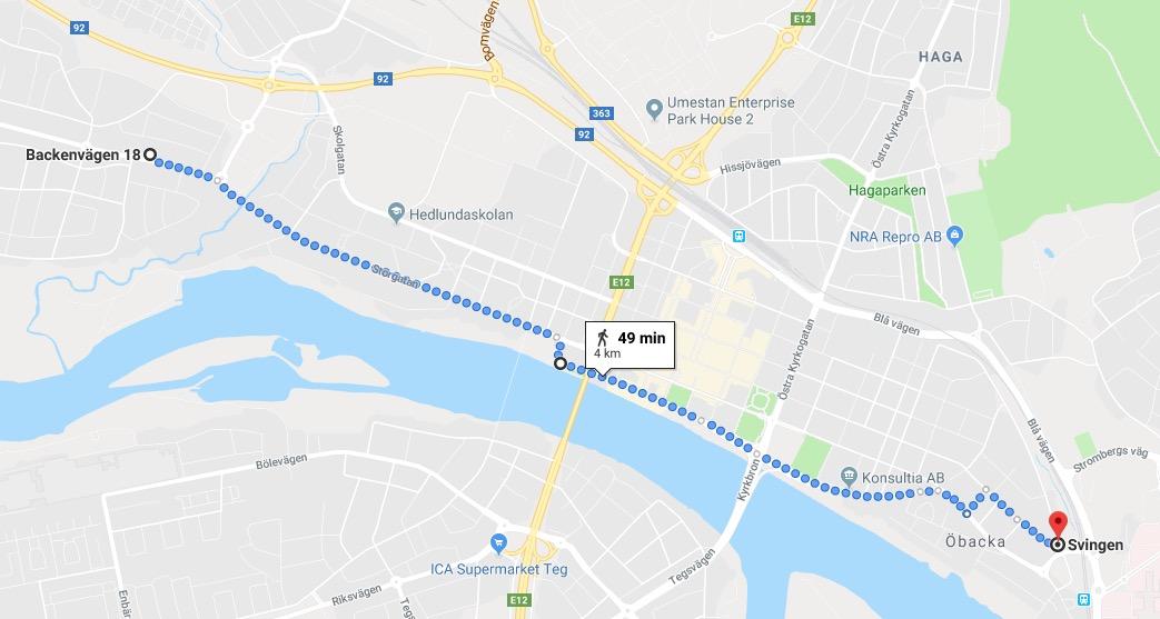Google Maps-skärmbild som visar vårt förslag till ny, separerad cykelväg från Backenvägen till Svingen över Storgatan och Västra-/Östra Strandgatan.